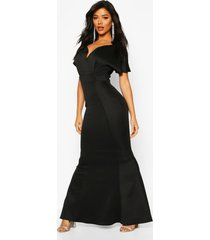 cross over fishtail maxi dress, black