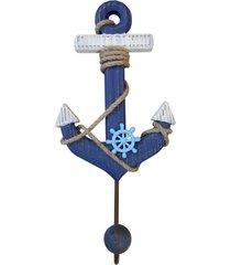 cabideiro de parede madeira ã'ncora azul marinho 33x17cm kasa ideia - azul marinho - dafiti