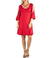 women's knee length cold shoulder dress