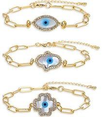 luxe 3-piece goldtone titanium, crystal & faux pearl bracelet set