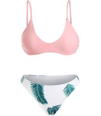 padded bra and floral leaf print bottoms