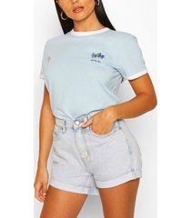 palm pocket print ringer t-shirt, blue