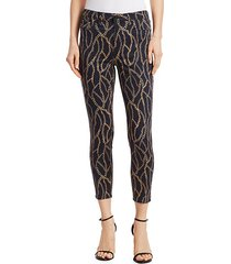 margot chain-print cropped jeans