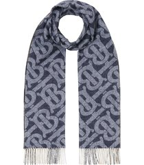 burberry reversible cashmere check scarf - blue