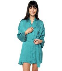 kimono en seda cinturon ref. 177726 verde agua