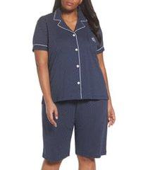 plus size women's lauren ralph lauren bermuda pajamas, size 3x - blue