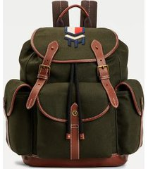 tommy hilfiger men's canvas backpack faded military -