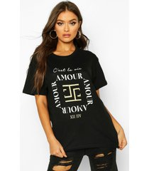amour slogan t-shirt, black