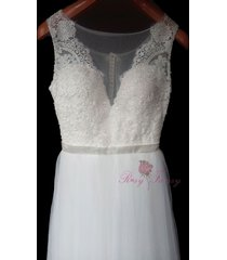 rosyfancy illusion v-neck lace and tulle casual wedding dress with sheer back