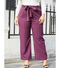 yoins plus tamaño morado cinturón diseño tartán pantalones