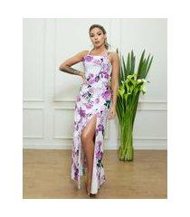 vestido miss misses longo sereia com estampa floral lilás