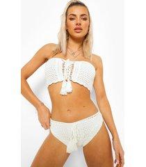 gehaakt bikini broekje met veters en hoge taille, white