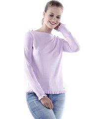 blusa pop me tricô detalhe babado punho feminina