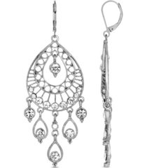 2028 silver-tone crystal filigree teardrop earrings