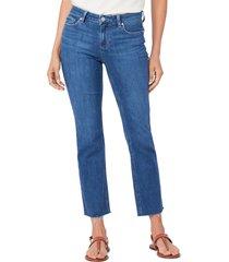 women's paige amber high waist raw hem straight leg jeans, size 24 - blue