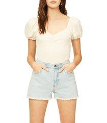 billabong so cheeky high waist denim shorts, size 28 in aqua sea at nordstrom