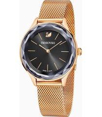 orologio octea nova, bracciale milanese, nero, pvd oro rosa