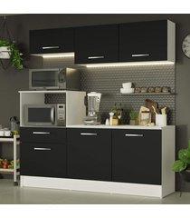 cozinha compacta madesa onix 180001 com armário e balcão - branco/preto branco