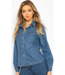 denim western shirt, mid blue