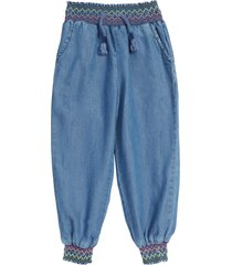 toddler girl's peek aren't you curious kids' chainstitch joggers, size 2t - blue