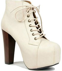 off white pu retro ankle bootie chunky heel lace up ankle boots women's shoes