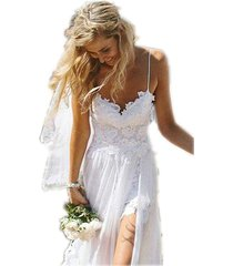 spaghetti straps lace bohemian/boho wedding dress backless,beach wedding dress