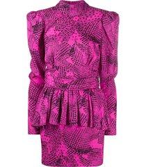 alessandra rich peplum abstract print dress - pink