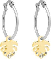 orecchini a cerchio con charm foglia in acciaio bicolore e strass per donna