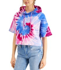 french connection cotton tie-dyed cropped hoodie