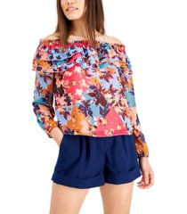 bar iii city patch floral-print ruffled off-the-shoulder blouse, created for macy's