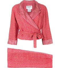 chanel pre-owned 1999 tweed skirt suit - pink