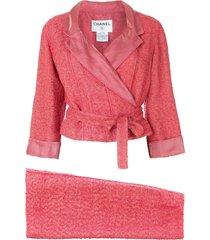 chanel pre-owned 1999 tweed skirt suit - pink