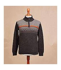 men's 100% alpaca pullover, 'winter traveler' (peru)