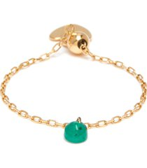'dancing' emerald 18k gold 18k gold adjustable chain ring