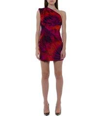 dsquared2 one shoulder short cut silk dress