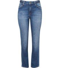 calça dudlaina jeans reta vintage feminina (jeans medio, 48)
