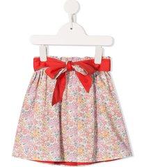 familiar bow detail floral print skirt - multicolour