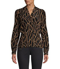 cara chain print wrap top