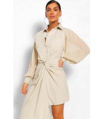 gedrapeerde blouse jurk met geplooide mouwen, steenrood