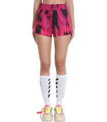 off-white active tiger shorts in fuxia polyamide