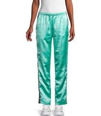 kappa women's satin logo-tape track pants - mint black - size m