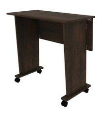 mesa com rodizio rustico tecno mobili marrom