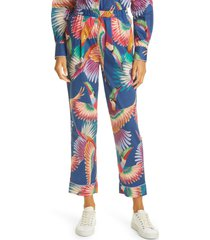 women's farm rio colorful toucans pajama style crop pants, size medium - blue
