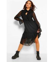 dobby mesh gesmokte midi jurk met laagjes en strik, zwart