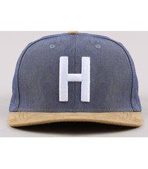"""boné masculino aba reta em suede com bordado """"h"""" azul"""