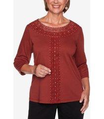 alfred dunner women's catwalk solid center crochet knit top