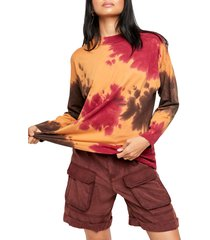 women's free people be free tie dye oversize long sleeve t-shirt, size x-large - burgundy