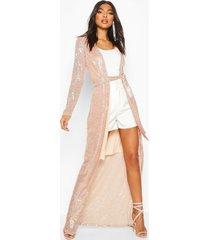 tall sequin wrap kimono, rose gold