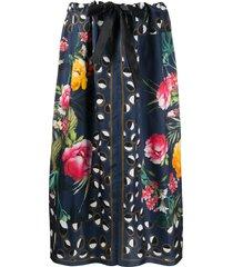 altea silk floral print skirt - blue