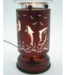 copper dolphin touch lamp oil/tart warmer - use with scentsy & yankee candle wax
